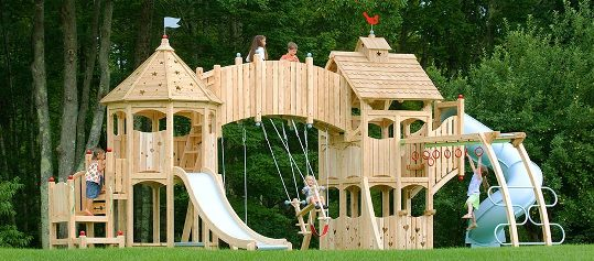 outdoor swing set wood