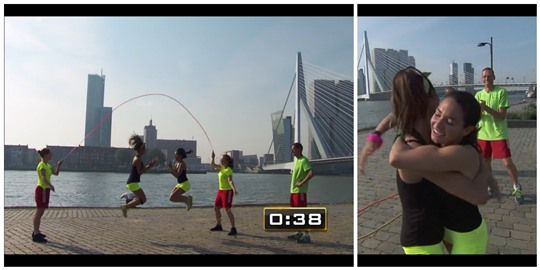 Amazing Race cheerleaders double dutch